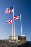 Puerto Rico - San Juan: San Felipe del Morro - flags (photo by D.Smith)