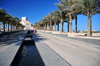Doha, Qatar: avenue of water and palm trees between the Corniche and the Museum of Islamic Art - architect I.M. Pei - photo by M.Torres