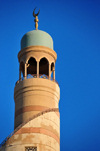 Doha, Qatar: Qatar Islamic Cultural Center, FANAR - minaret with its crescent over blue sky - photo by M.Torres