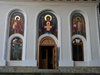 Ceahlau, Neamt county, Moldavia, Romania: Holy Monastery of Durau - church of the Annunciation - oil-paintings by the monks Macarie, Pimen and Ghervasie - photo by J.Kaman