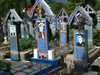 Sapanta, Maramures county, Transylvania, Romania: the Merry Cemetery - colourful tombstones with naïve paintings - protected by UNESCO - photo by J.Kaman