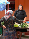 Sighetu Marmatiei, Maramures county, Transylvania, Romania: women and cocumbers at the market - photo by J.Kaman
