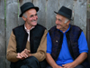 Ieud, Maramures county, Transylvania, Romania: smiling local men - photo by J.Kaman