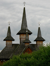 Ieud, Maramures county, Transylvania, Romania: wooden church - four spires - timber construction tradition - photo by J.Kaman