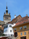 Sighisoara / Segesvár, Mures county, Transylvania, Romania: clock tower, aka Tower of the Council, housing the Museum of History - buildings of the Citadel - UNESCO listed town of Sighisoara - Cetatea - photo by J.Kaman