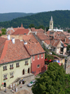 Sighisoara / Segesvár, Mures county, Transylvania, Romania: Venetian House and Museum Square - citadel roof tops seen from the clock tower - UNESCO world heritage site - Vedere din Turnul cu Ceas - Cetatea - photo by J.Kaman