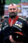 Russia - Kuban - Krasnodar kray: posing cossack - solider - Russian - mr t - decorated war veteran (photo by Vladimir Sidoropolev)