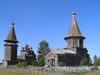 Russia - Ljadiny - Arkhangelsk Oblast: cemetery and two wooden churches - Church of the Epiphany (L) Church of the Intercession (R) - photo by J.Kaman