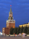 Russia - Moscow: Spasskaya Tower of Kremlin at night - photo by J.Kaman