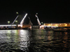Russia - St Petersburg: Night raising of bridges on Neva river - photo by J.Kaman