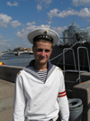 Russia - St Petersburg: sailor at Cruiser Aurora - photo by J.Kaman