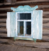 Lake Baikal, Irkutsk oblast, Siberian Federal District, Russia: Khuzir Village, Olkhon island - window of a timber house - photo by B.Cain