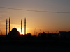 Chechnya, Russia - Grozny - Europe's largest mosque - Grozny central mosque, named 'The Heart of Chechnya' - built with Turkish support and, as usual in Ottoman mosques, inspired in the Agya Sophia church - Chechen mosque in the sunset - silhouette - photo by A.Bley