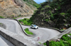 'The Road', Saba: a car negotiates the switchbacks between Fort Bay and The Bottom - this is the island's only road - photo by M.Torres