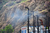 Fort Bay, Saba: pollution from the diesel generators of Elmer Linzey power plant - operated by GEBE Saba - around-the-clock electricity was established only in 1970 - photo by M.Torres