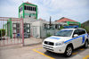 Flat Point, Saba: Juancho E. Yrausquin Airport - terminal building, control tower and police car - Toyota - photo by M.Torres