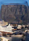 South Africa - Waterfront, Table Mt through a wine glass, Cape Town (photo by B.Cain)