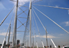Johannesburg, Gauteng, South Africa: Nelson Mandela Bridge - over the railway, linking Braamfontein to Newtown - cable-stayed bridge designed by Dissing+Weitling arkitektfirma - photo by M.Torres