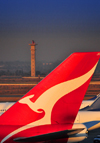 Johannesburg, Gauteng, South Africa: Qantas aircraft tail and control tower - 'The Flying Kangaroo' designed by Hans Hulsbosch - Qantas Boeing 747-438 VH-OJO 'The Spirit of Australia' (cn 25544/894) - OR Tambo International / Johannesburg International Airport / Jan Smuts / JNB - Kempton Park, Ekurhuleni - photo by M.Torres