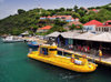 Gustavia, St. Barts / Saint-Barth�lemy: the Yellow Submarine dock in the harbour - boat for semi-sub tour - ferry terminal - photo by M.Torres