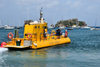 Gustavia, St. Barts / Saint-Barth�lemy: the Yellow Submarine sets sail to the Marine Park of Saint Barth - semi-submersible tour ship - Les Gros Islets in the background - photo by M.Torres