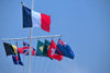 Gustavia, St. Barts / Saint-Barth�lemy: French flag and courtesy flags in the harbour - drapeau tricolore bleu, blanc, rouge - photo by M.Torres