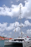 Gustavia, St. Barts / Saint-Barth�lemy: 76ft catamaran Akasha, designed by P. Wehrley and built by Matrix Yachts, powered by 2 Yanmar 4LHA-STP Marine diesels - charter yacht - photo by M.Torres