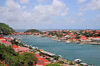 Gustavia, St. Barts / Saint-Barth�lemy: the town has the shape of a horseshoe around the small, sheltered harbor - view from Fort Gustave - natural leeward port -  anse naturelle ouvrant sur la rade de Gustavia - photo by M.Torres