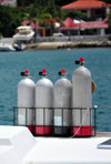 Gustavia, St. Barts / Saint-Barth�lemy: oxygen bottles on a divers' boat - photo by M.Torres