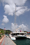 Gustavia, St. Barts / Saint-Barth�lemy: aft view of the charter catamaran Akasha - based in the BVIs - photo by M.Torres