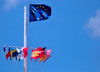 Gustavia, St. Barts / Saint-Barth�lemy: Flag of Europe and courtesy flags in the harbour - photo by M.Torres