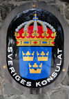 Gustavia, St. Barts / Saint-Barth�lemy: Swedish Coat of Arms - Swedish Consulate - Sveriges Konsulat - photo by M.Torres