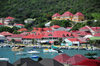 Gustavia, St. Barts / Saint-Barth�lemy: view over the harbour - red roofs - photo by M.Torres