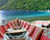 St Lucia: La Soufri�re - red rowing boat - photo by P.Baldwin