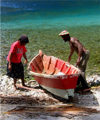 St Lucia: La Soufri�re - fishermen arrive - photo by P.Baldwin