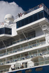 Sint-Maarten - Pointe Blanche: cruise ship - balconies  - photo by D.Smith