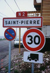 St-Pierre et Miquelon - St Pierre: signs - entering town - photo by G.Frysinger