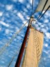 St Vincent and the Grenadines - Bequia island / BQU (Grenadines): sky and the sails of Friendship Rose, traditional Clipper (photographer: P.Baldwin)
