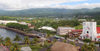 Samoa - Upolo - Apia: panorama of the capital - the Cathedral, fale roof of Visitors's Bureau the and the waterfront - Main West Coast Rd and Beach Rd - photo by R.Eime