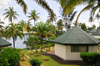 Santana, Cantagalo district, S�o Tom� and Pr�cipe / STP: bungallows, coconut trees and the Ocean - Hotel Club Santana Resort / bungallows, coqueiros e o mar - photo by M.Torres