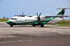 São Tomé, Água Grande district, São Tomé and Príncipe / STP: São Tomé International Airport - aircraft on the tarmac - Ceiba Intercontinental ATR 72-212A cn790 3C-LLI / Aeroporto Internacional de São Tomé  - photo by M.Torres