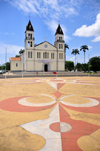 S�o Tom�, S�o Tom� and Pr�ncipe / STP: cathedral of S�o Tom� - square with Compass rose / catedral de S�o Tom� - S� - Rosa dos ventos no Largo �gua Grande - photo by M.Torres