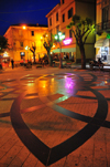 Olbia / Terranoa / Tarranoa, Olbia-Tempio province, Sardinia / Sardegna / Sardigna: Piazza Margherita at night - pavement design by Leonardo da Vinci - photo by M.Torres