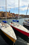 Alghero / L'Alguer, Sassari province, Sardinia / Sardegna / Sardigna: yachts, the port and the old city - Porto Antico - photo by M.Torres