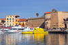 Alghero / L'Alguer, Sassari province, Sardinia / Sardegna / Sardigna: Porto Antico - boats and the Maddalena / Garibaldi tower - end of Via Garibaldi - photo by M.Torres