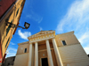 Alghero / L'Alguer, Sassari province, Sardinia / Sardegna / Sardigna: Cathedral of Saint Mary - Neo-Classical tetrastyle portico of Doric columns - photo by M.Torres