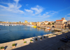 Alghero / L'Alguer, Sassari province, Sardinia / Sardegna / Sardigna: panorama of the Porto Antico from the Magellan bastion - the town is know as Barceloneta, for its Catalan heritage - photo by M.Torres