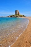 Bari Sardo, Ogliastra province, Sardinia / Sardegna / Sardigna: Torre di Bari - Aragonese tower and beach with pebbles and soft ochre sands - photo by M.Torres