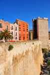 Cagliari, Sardinia / Sardegna / Sardigna: Elephant Tower - view along Via Santa Croce / Terrapieno del Cardona - Torre dell'Elefante - quartiere Castello - photo by M.Torres
