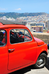 Cagliari, Sardinia / Sardegna / Sardigna: a red Cinquecento enjoys the view from Terrazza Umberto I - Fiat 500, designed by Dante Giacosa - quartiere Castello - photo by M.Torres